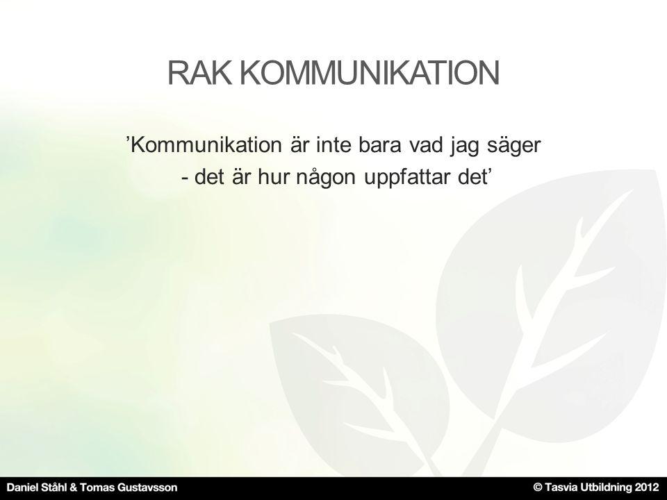 RAK KOMMUNIKATION 'Kommunikation är inte bara vad jag säger - det är hur någon uppfattar det'