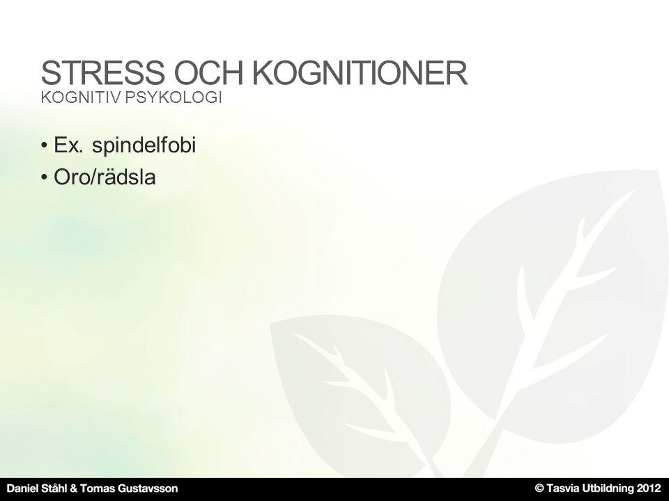 STRESS OCH KOGNITIONER •Ex. spindelfobi •Oro/rädsla KOGNITIV PSYKOLOGI