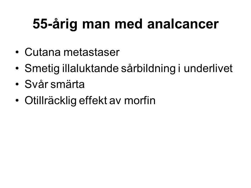 55-årig man med analcancer •Cutana metastaser •Smetig illaluktande sårbildning i underlivet •Svår smärta •Otillräcklig effekt av morfin