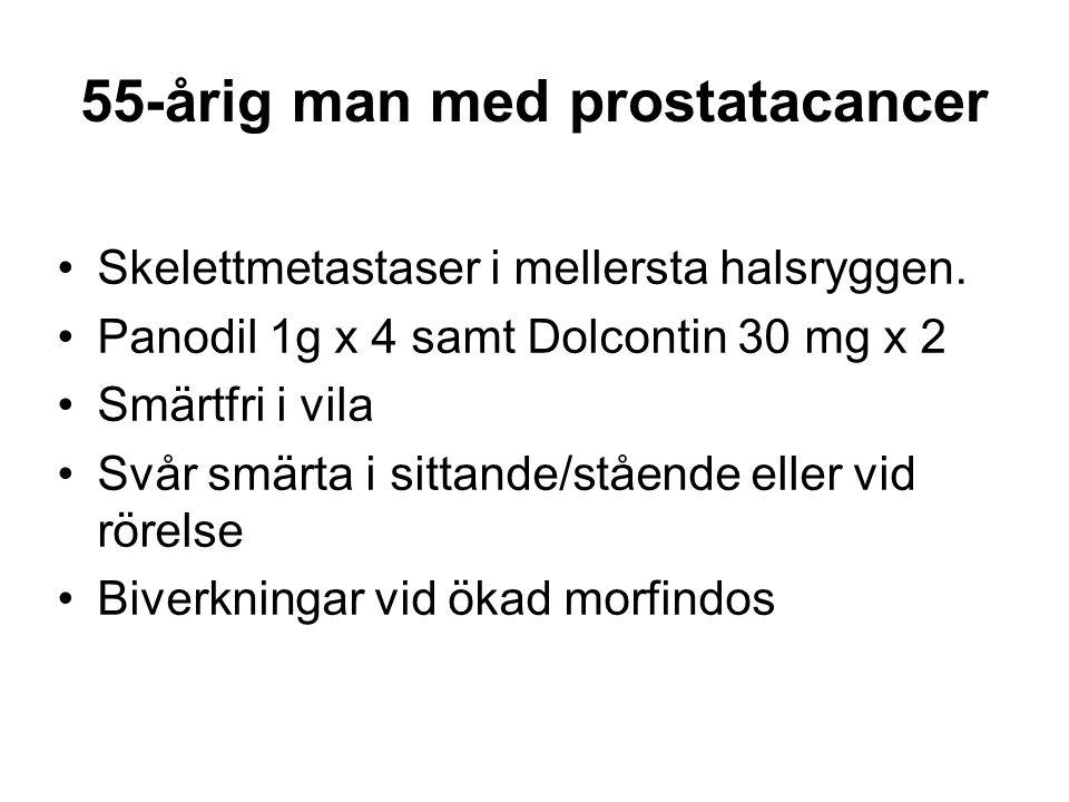 55-årig man med prostatacancer •Skelettmetastaser i mellersta halsryggen. •Panodil 1g x 4 samt Dolcontin 30 mg x 2 •Smärtfri i vila •Svår smärta i sit