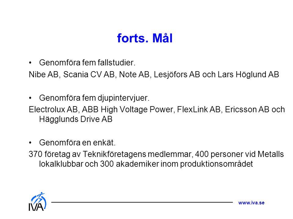 www.iva.se forts. Mål •Genomföra fem fallstudier. Nibe AB, Scania CV AB, Note AB, Lesjöfors AB och Lars Höglund AB •Genomföra fem djupintervjuer. Elec