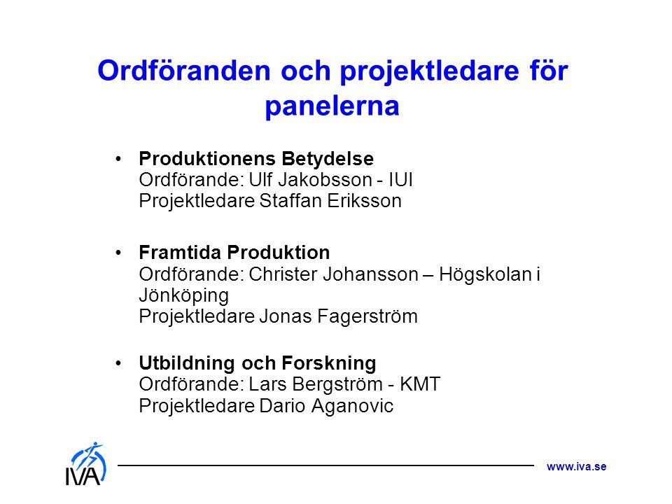 www.iva.se Ordföranden och projektledare för panelerna •Produktionens Betydelse Ordförande: Ulf Jakobsson - IUI Projektledare Staffan Eriksson •Framti