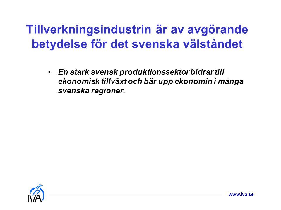 www.iva.se Tillverkningsindustrin är av avgörande betydelse för det svenska välståndet • En stark svensk produktionssektor bidrar till ekonomisk tillv