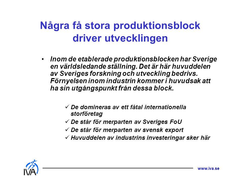 www.iva.se Några få stora produktionsblock driver utvecklingen • Inom de etablerade produktionsblocken har Sverige en världsledande ställning. Det är