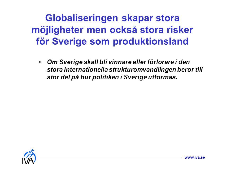 www.iva.se Globaliseringen skapar stora möjligheter men också stora risker för Sverige som produktionsland • Om Sverige skall bli vinnare eller förlor