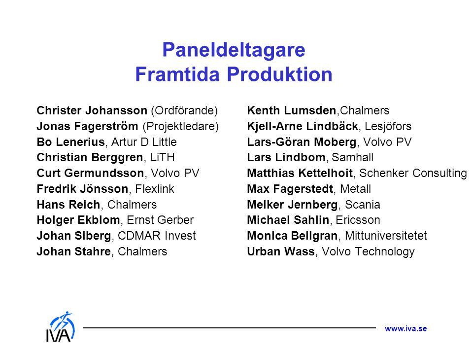 www.iva.se Paneldeltagare Framtida Produktion Christer Johansson (Ordförande) Jonas Fagerström (Projektledare) Bo Lenerius, Artur D Little Christian B