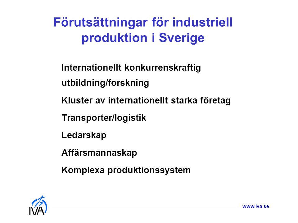 www.iva.se Förutsättningar för industriell produktion i Sverige Internationellt konkurrenskraftig utbildning/forskning Kluster av internationellt star