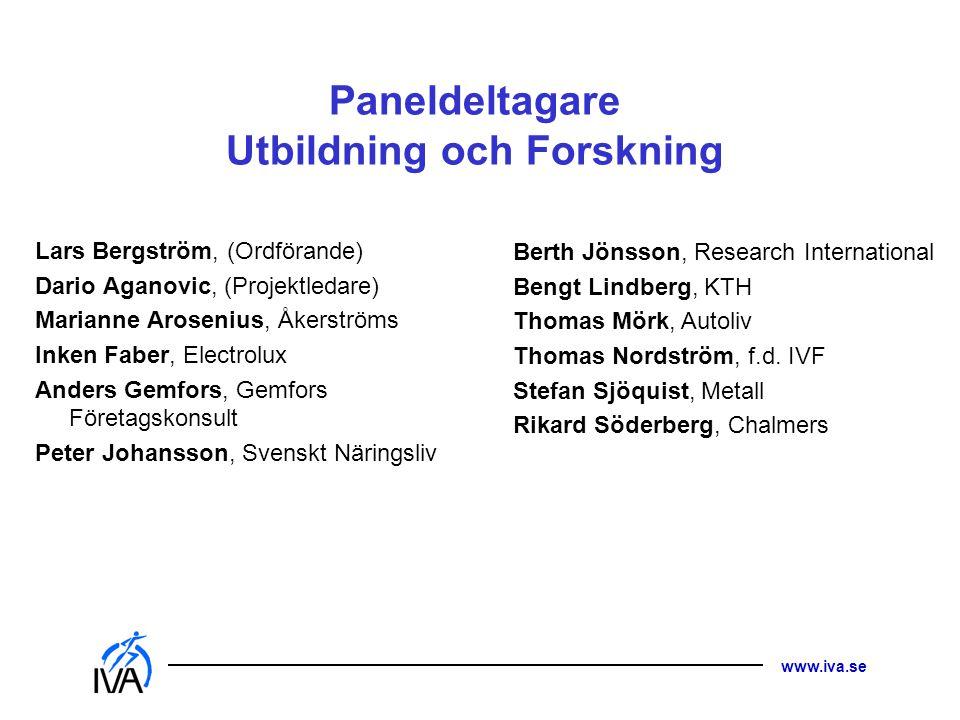 www.iva.se Paneldeltagare Utbildning och Forskning Lars Bergström, (Ordförande) Dario Aganovic, (Projektledare) Marianne Arosenius, Åkerströms Inken F