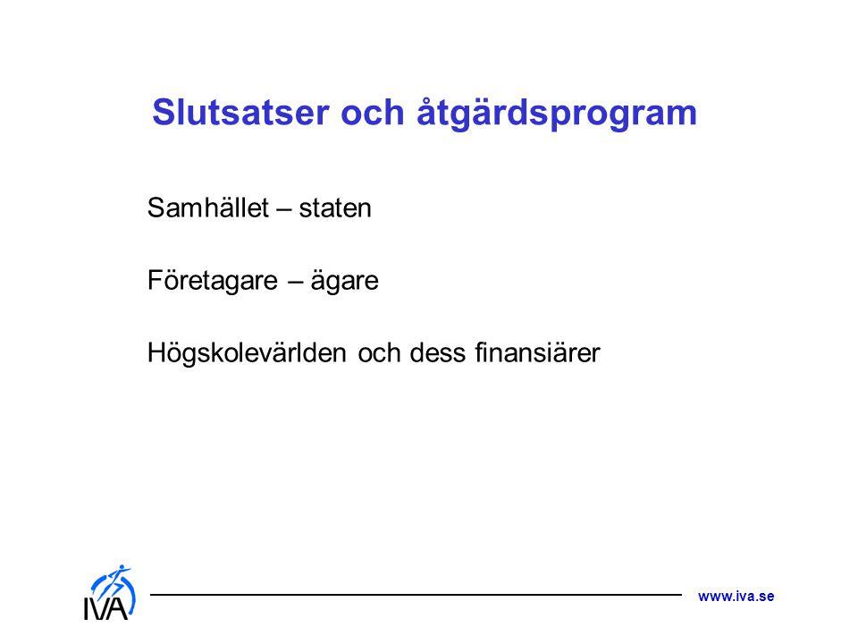www.iva.se Slutsatser och åtgärdsprogram Samhället – staten Företagare – ägare Högskolevärlden och dess finansiärer