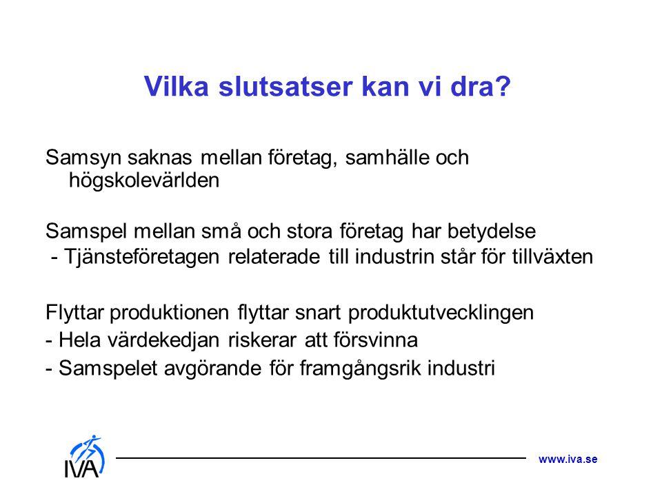 www.iva.se Vilka slutsatser kan vi dra? Samsyn saknas mellan företag, samhälle och högskolevärlden Samspel mellan små och stora företag har betydelse