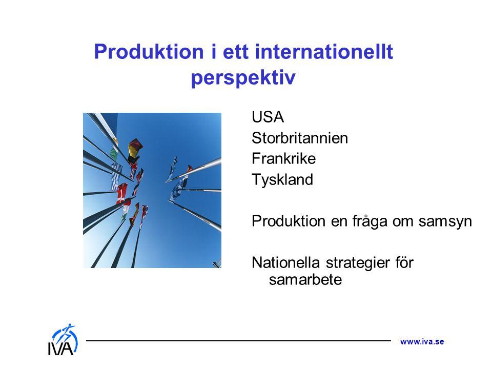 www.iva.se Produktion i ett internationellt perspektiv USA Storbritannien Frankrike Tyskland Produktion en fråga om samsyn Nationella strategier för s