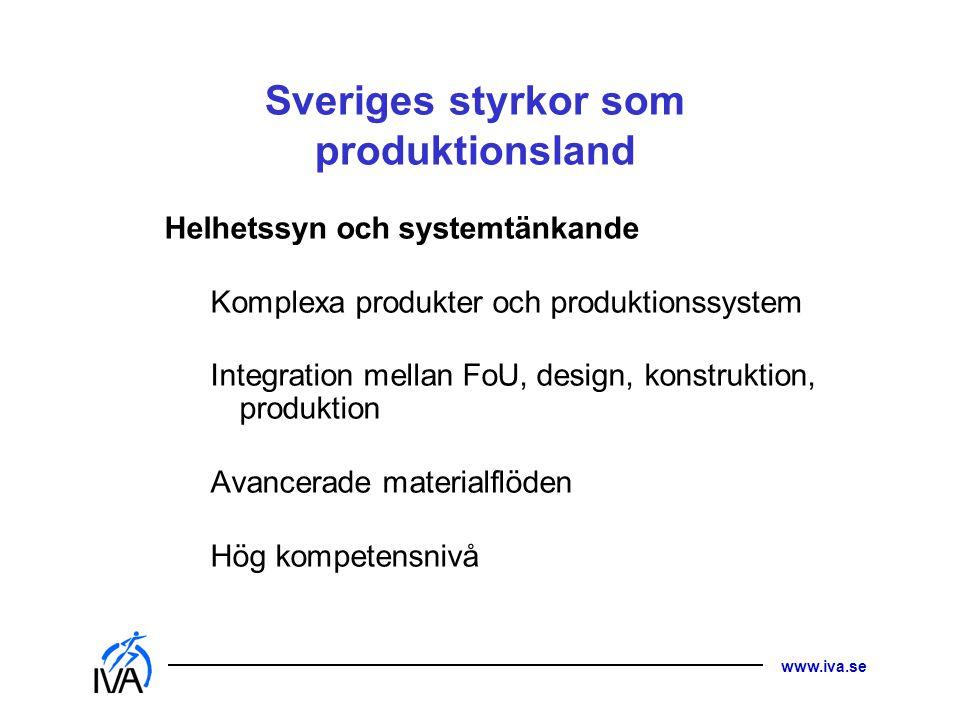 www.iva.se Sveriges styrkor som produktionsland Helhetssyn och systemtänkande Komplexa produkter och produktionssystem Integration mellan FoU, design,