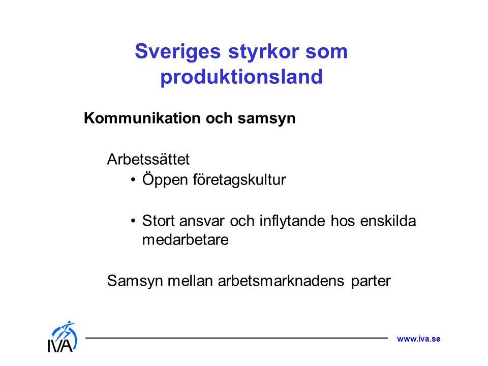 www.iva.se Sveriges styrkor som produktionsland Kommunikation och samsyn Arbetssättet •Öppen företagskultur •Stort ansvar och inflytande hos enskilda