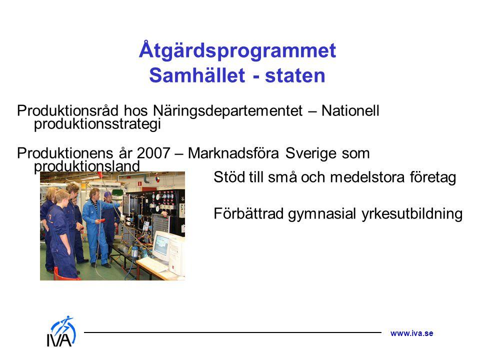 www.iva.se Åtgärdsprogrammet Samhället - staten Produktionsråd hos Näringsdepartementet – Nationell produktionsstrategi Produktionens år 2007 – Markna