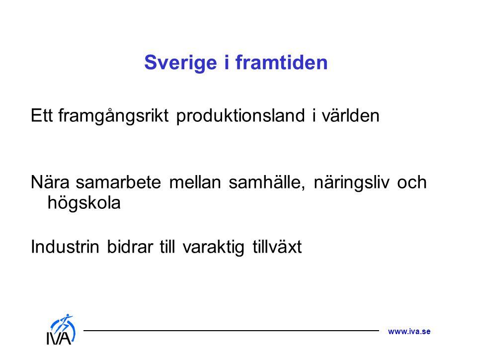 www.iva.se Sverige i framtiden Ett framgångsrikt produktionsland i världen Nära samarbete mellan samhälle, näringsliv och högskola Industrin bidrar ti