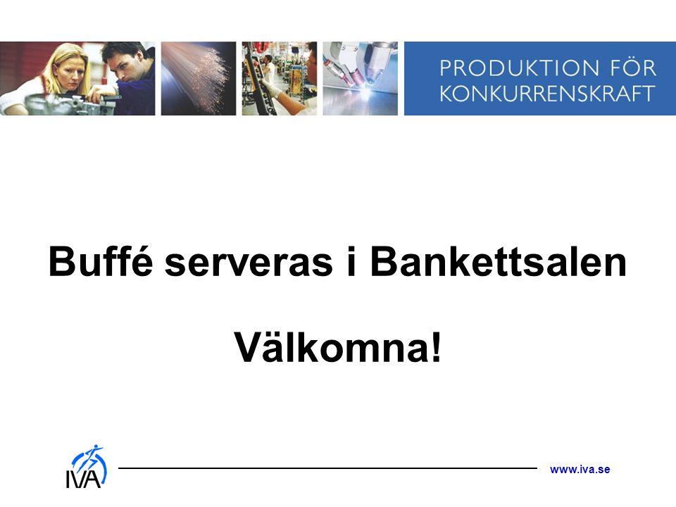 www.iva.se Buffé serveras i Bankettsalen Välkomna!