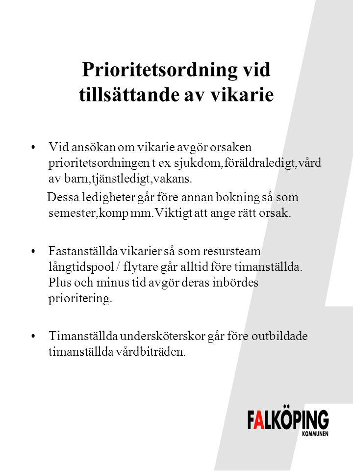 Prioritetsordning vid tillsättande av vikarie •Vid ansökan om vikarie avgör orsaken prioritetsordningen t ex sjukdom,föräldraledigt,vård av barn,tjäns