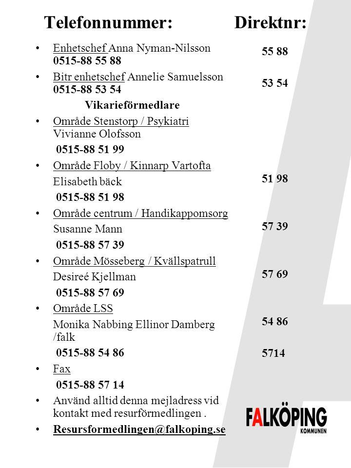 Telefonnummer: Direktnr: •Enhetschef Anna Nyman-Nilsson 0515-88 55 88 •Bitr enhetschef Annelie Samuelsson 0515-88 53 54 Vikarieförmedlare •Område Sten