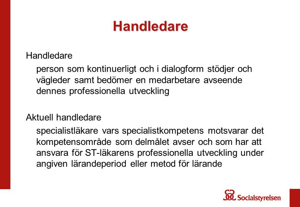 Handledare Handledare person som kontinuerligt och i dialogform stödjer och vägleder samt bedömer en medarbetare avseende dennes professionella utveck