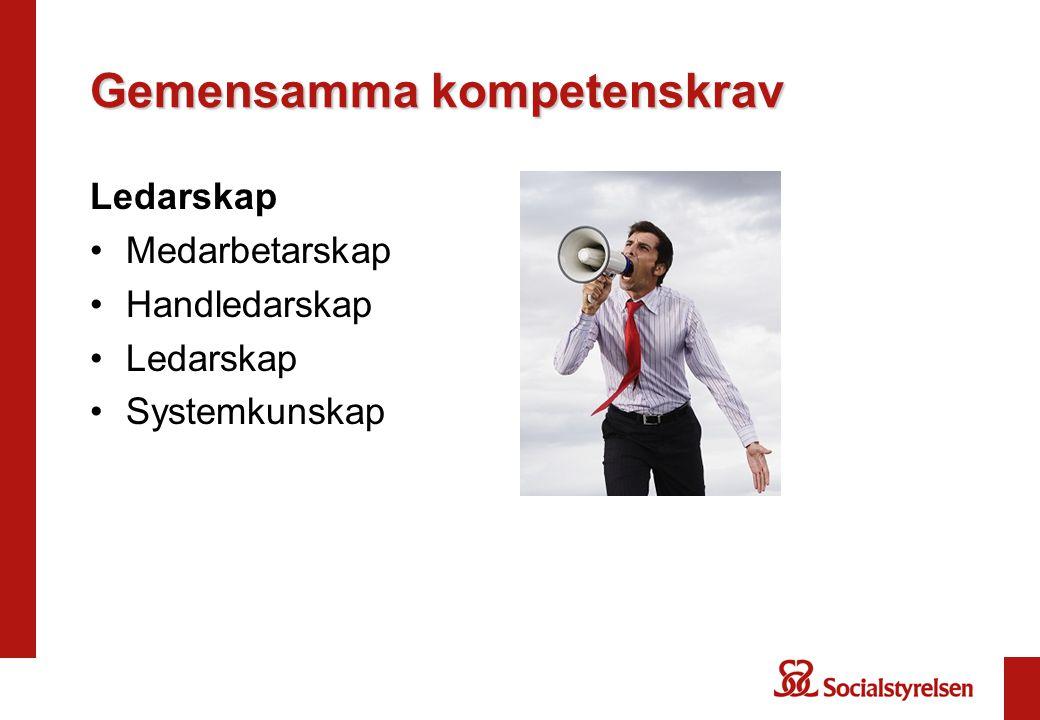 Gemensamma kompetenskrav Ledarskap •Medarbetarskap •Handledarskap •Ledarskap •Systemkunskap