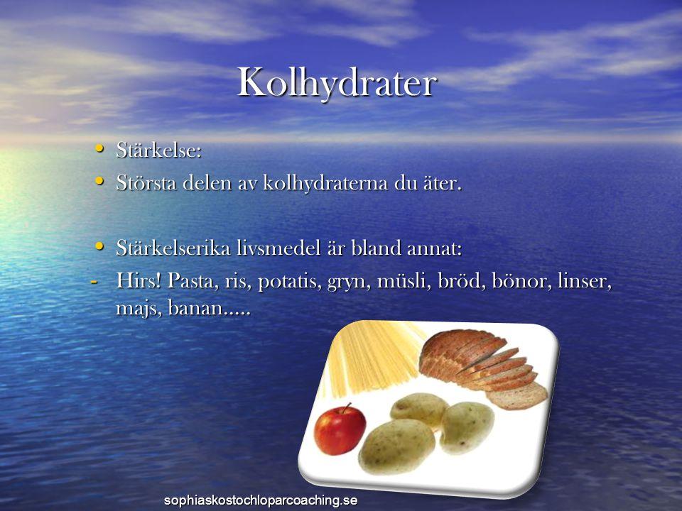 Kolhydrater • Stärkelse: • Största delen av kolhydraterna du äter. • Stärkelserika livsmedel är bland annat: - Hirs! Pasta, ris, potatis, gryn, müsli,