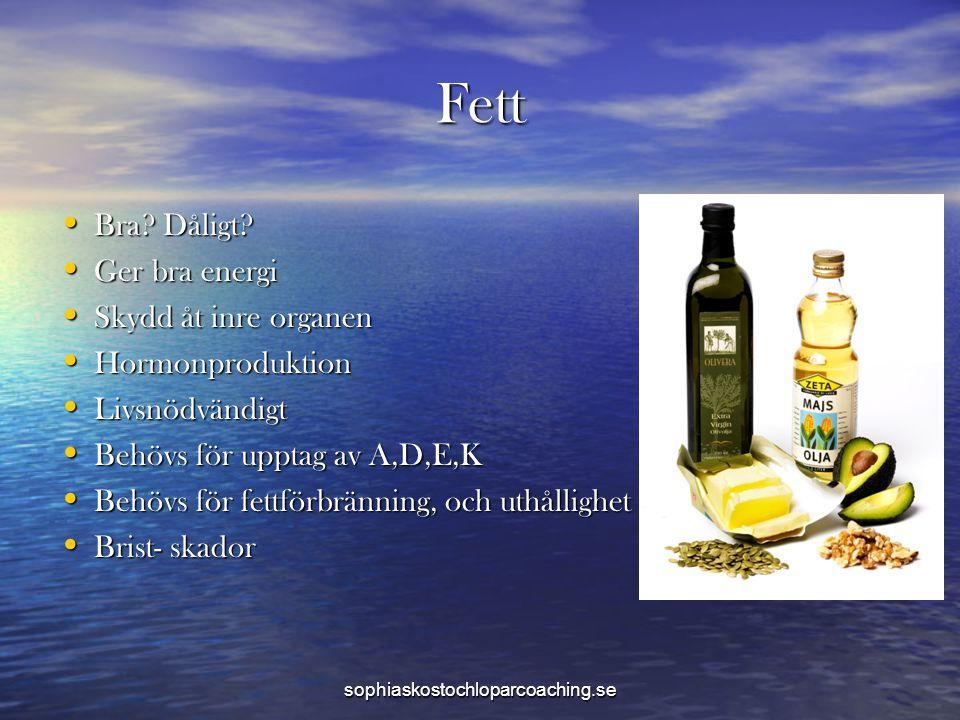 Fett • Bra? Dåligt? • Ger bra energi • Skydd åt inre organen • Hormonproduktion • Livsnödvändigt • Behövs för upptag av A,D,E,K • Behövs för fettförbr