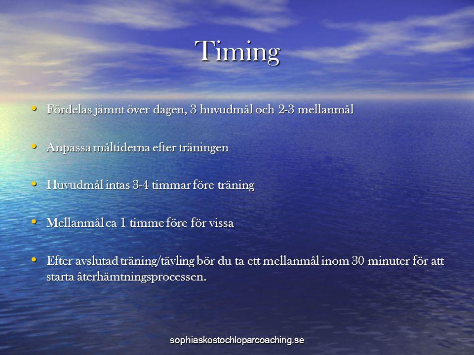 Timing • Fördelas jämnt över dagen, 3 huvudmål och 2-3 mellanmål • Anpassa måltiderna efter träningen • Huvudmål intas 3-4 timmar före träning • Mella