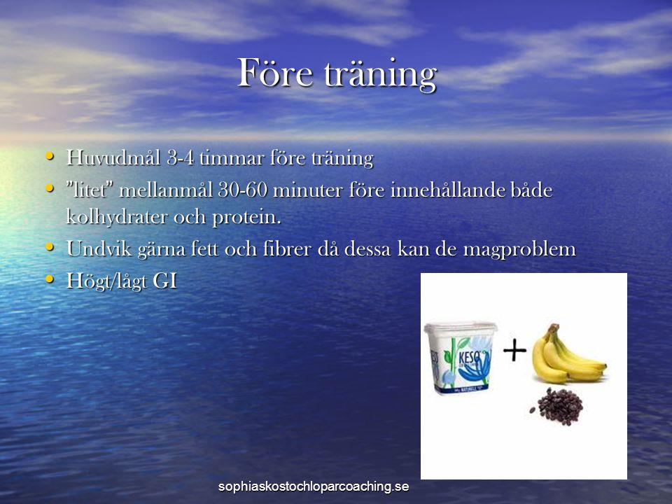 """Före träning • Huvudmål 3-4 timmar före träning • """"litet"""" mellanmål 30-60 minuter före innehållande både kolhydrater och protein. • Undvik gärna fett"""