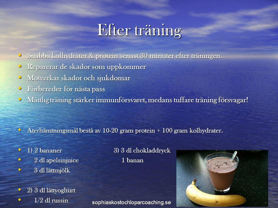 Efter träning • Snabba kolhydrater & protein senast 30 minuter efter träningen. • Reparerar de skador som uppkommer • Motverkar skador och sjukdomar •