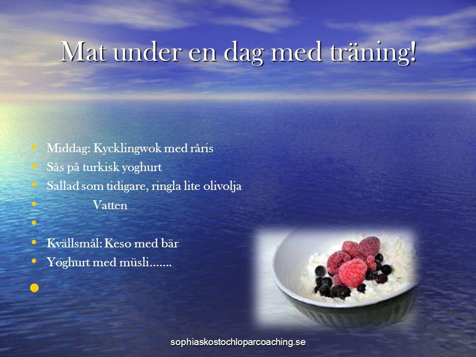 Mat under en dag med träning! • • Middag: Kycklingwok med råris • • Sås på turkisk yoghurt • • Sallad som tidigare, ringla lite olivolja • • Vatten •