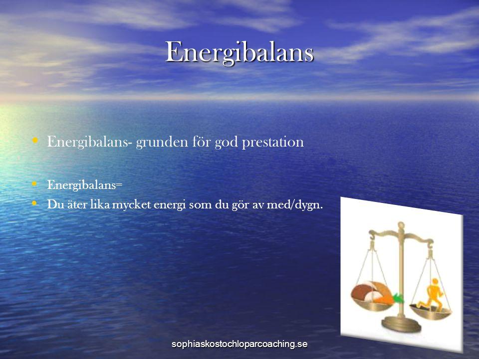 Energibalans • • Energibalans- grunden för god prestation • • Energibalans= • • Du äter lika mycket energi som du gör av med/dygn. sophiaskostochlopar