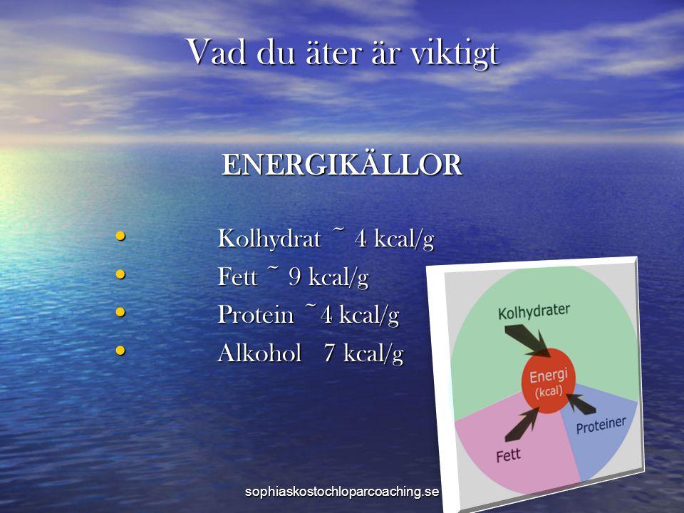 Vad du äter är viktigt ENERGIKÄLLOR • Kolhydrat ~ 4 kcal/g • Fett ~ 9 kcal/g • Protein ~4 kcal/g • Alkohol 7 kcal/g sophiaskostochloparcoaching.se