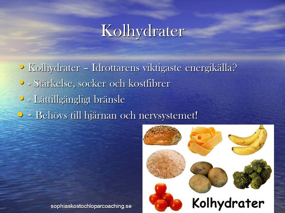 Kolhydrater • Kolhydrater – Idrottarens viktigaste energikälla? • - Stärkelse, socker och kostfibrer • - Lättillgängligt bränsle • - Behövs till hjärn