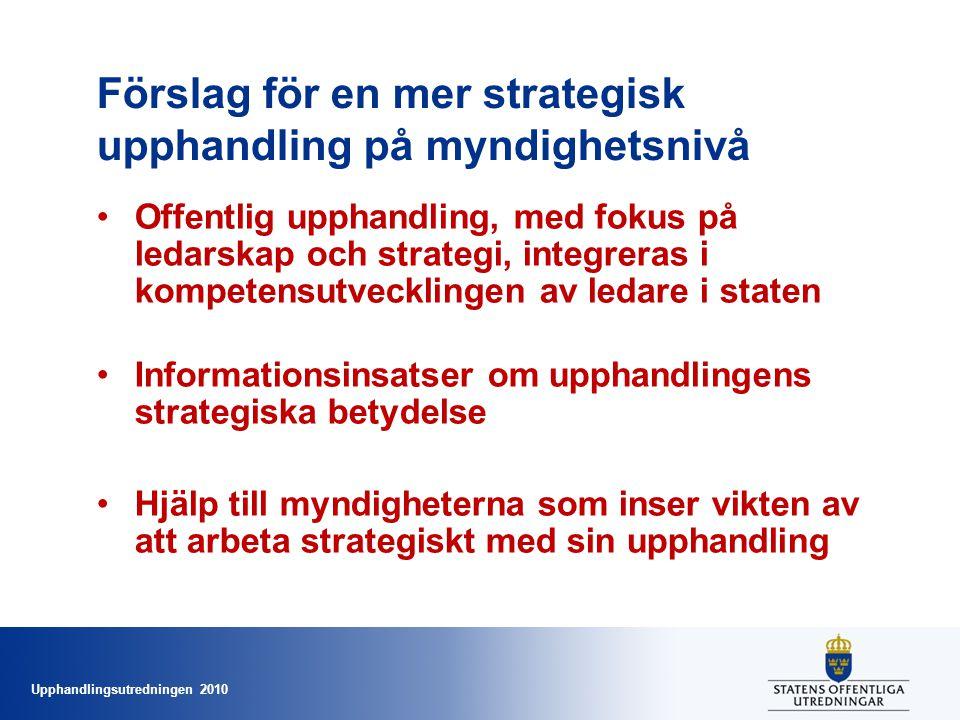 Upphandlingsutredningen 2010 Förslag för en mer strategisk upphandling på myndighetsnivå •Offentlig upphandling, med fokus på ledarskap och strategi, integreras i kompetensutvecklingen av ledare i staten •Informationsinsatser om upphandlingens strategiska betydelse •Hjälp till myndigheterna som inser vikten av att arbeta strategiskt med sin upphandling
