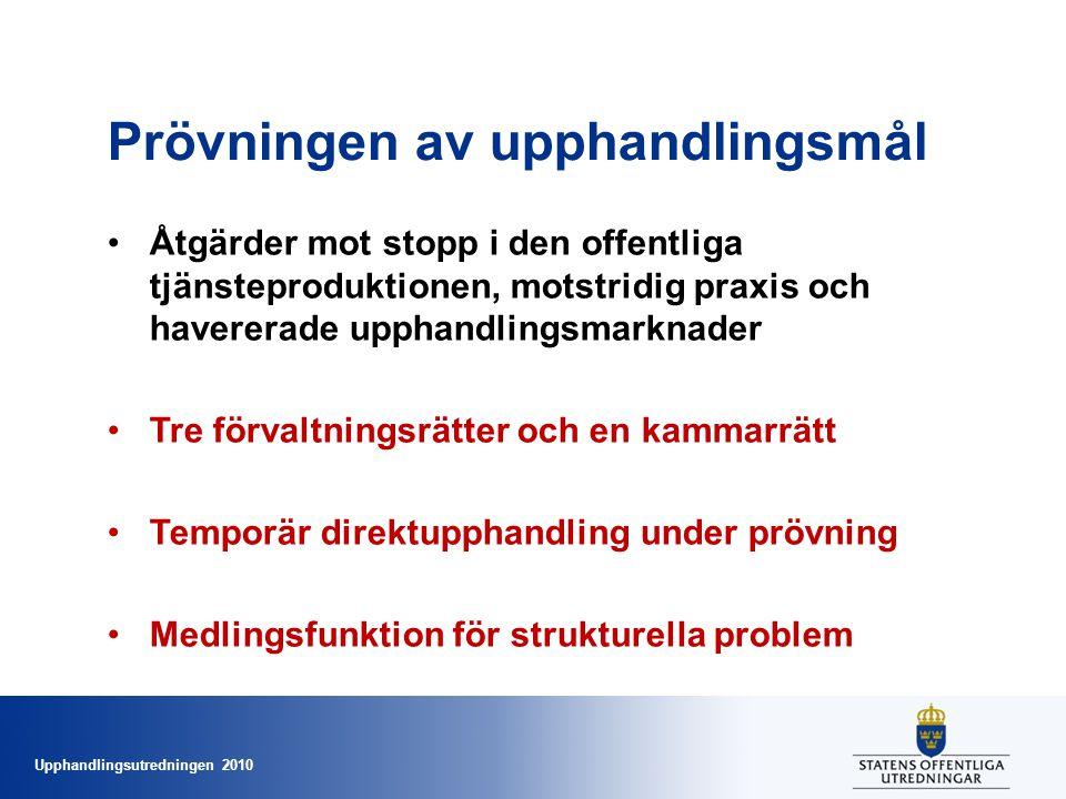 Upphandlingsutredningen 2010 Prövningen av upphandlingsmål •Åtgärder mot stopp i den offentliga tjänsteproduktionen, motstridig praxis och havererade