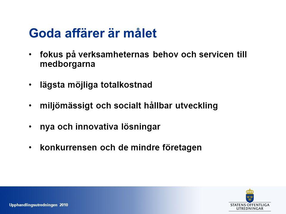 Upphandlingsutredningen 2010 Goda affärer är målet •fokus på verksamheternas behov och servicen till medborgarna •lägsta möjliga totalkostnad •miljömässigt och socialt hållbar utveckling •nya och innovativa lösningar •konkurrensen och de mindre företagen