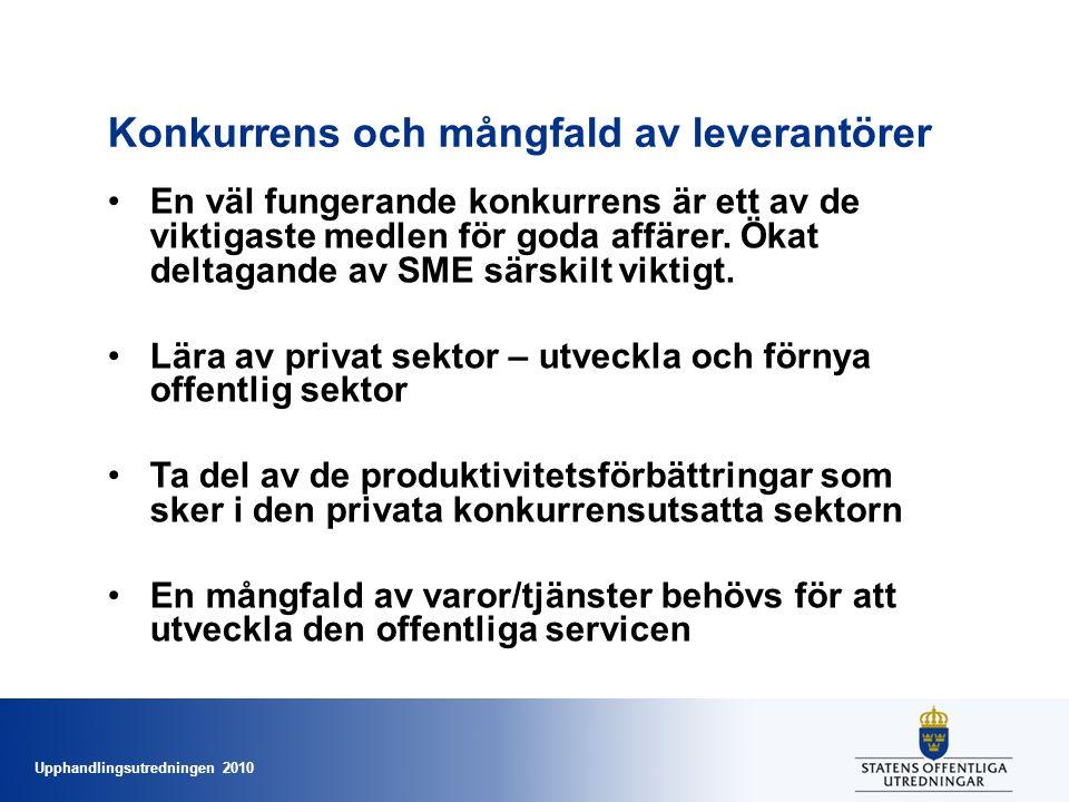 Upphandlingsutredningen 2010 Konkurrens och mångfald av leverantörer •En väl fungerande konkurrens är ett av de viktigaste medlen för goda affärer.