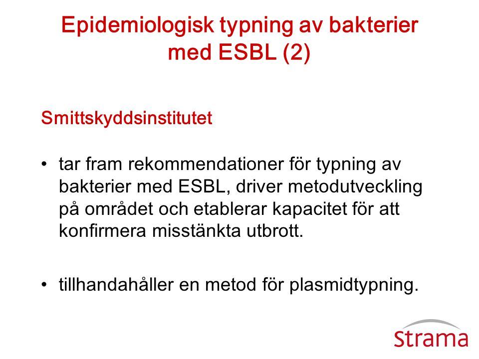 Epidemiologisk typning av bakterier med ESBL (2) Smittskyddsinstitutet •tar fram rekommendationer för typning av bakterier med ESBL, driver metodutvec