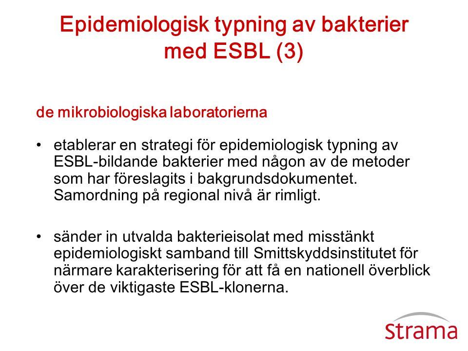 Epidemiologisk typning av bakterier med ESBL (3) de mikrobiologiska laboratorierna •etablerar en strategi för epidemiologisk typning av ESBL-bildande