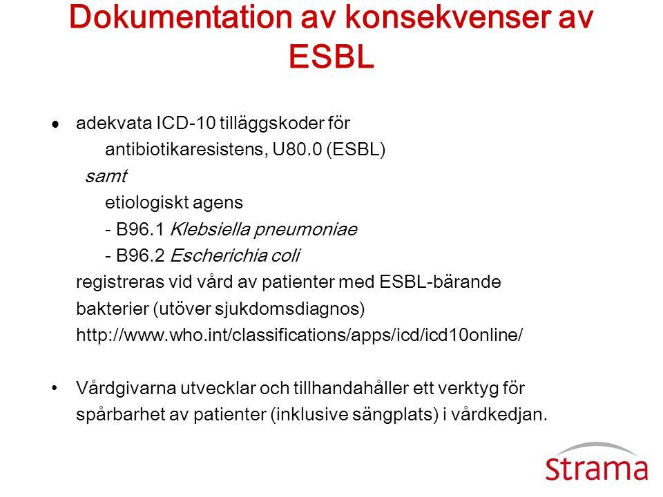Dokumentation av konsekvenser av ESBL  adekvata ICD-10 tilläggskoder för antibiotikaresistens, U80.0 (ESBL) samt etiologiskt agens - B96.1 Klebsiella