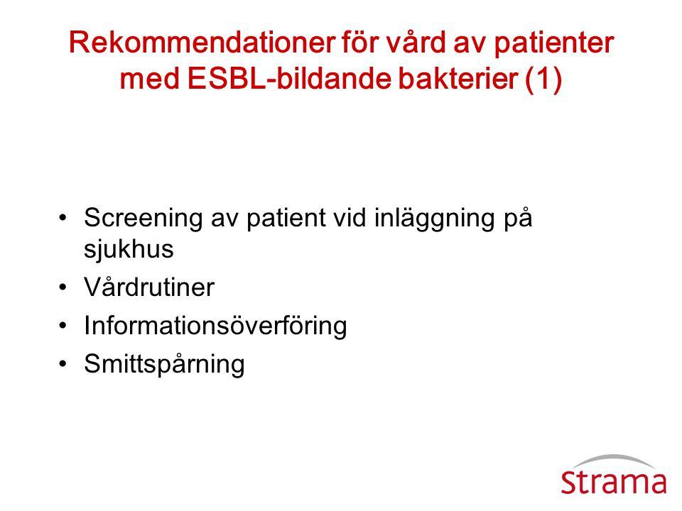 Rekommendationer för vård av patienter med ESBL-bildande bakterier (1) •Screening av patient vid inläggning på sjukhus •Vårdrutiner •Informationsöverf
