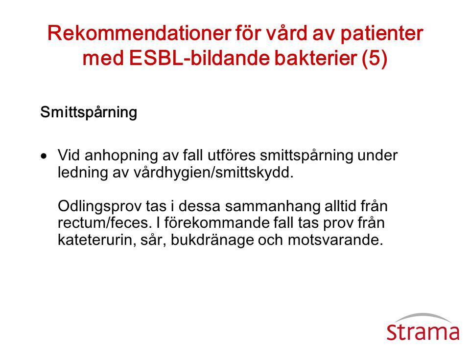 Rekommendationer för vård av patienter med ESBL-bildande bakterier (5) Smittspårning  Vid anhopning av fall utföres smittspårning under ledning av vå