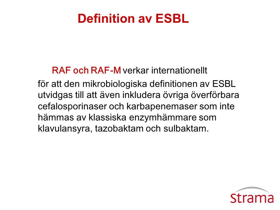 RAF och RAF-M verkar internationellt för att den mikrobiologiska definitionen av ESBL utvidgas till att även inkludera övriga överförbara cefalosporin