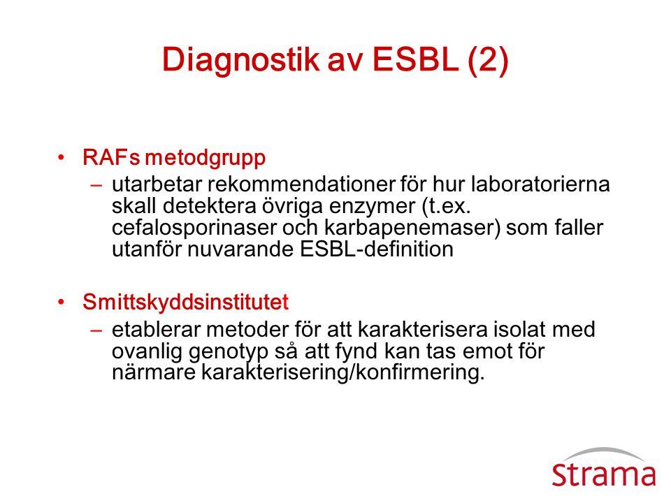 Diagnostik av ESBL (2) •RAFs metodgrupp –utarbetar rekommendationer för hur laboratorierna skall detektera övriga enzymer (t.ex. cefalosporinaser och