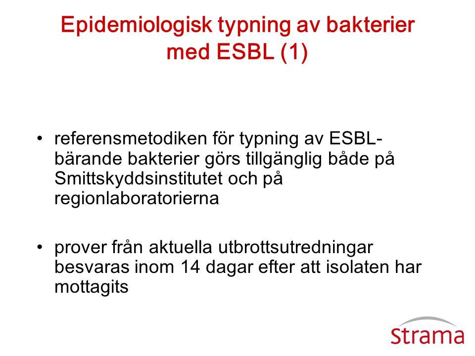 Epidemiologisk typning av bakterier med ESBL (1) •referensmetodiken för typning av ESBL- bärande bakterier görs tillgänglig både på Smittskyddsinstitu