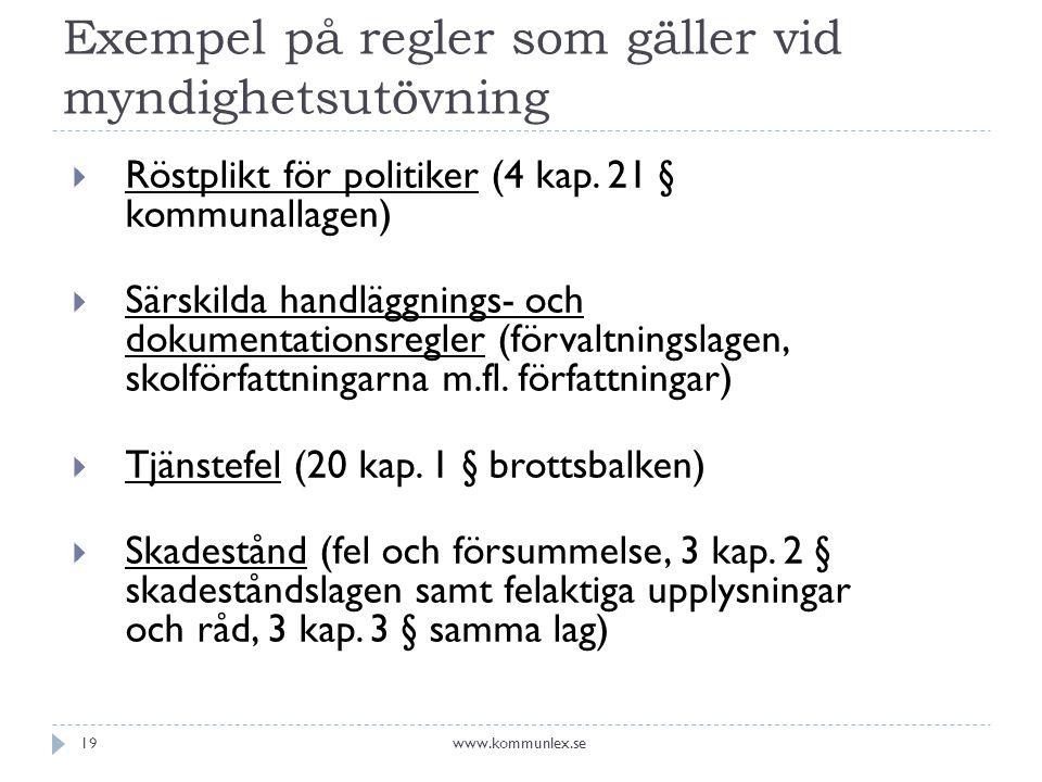 Exempel på regler som gäller vid myndighetsutövning  Röstplikt för politiker (4 kap. 21 § kommunallagen)  Särskilda handläggnings- och dokumentation