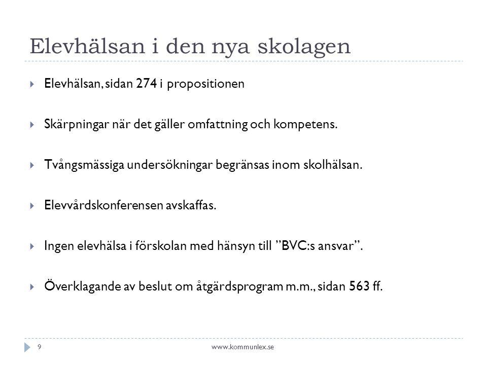 Elevhälsan i den nya skolagen  Elevhälsan, sidan 274 i propositionen  Skärpningar när det gäller omfattning och kompetens.  Tvångsmässiga undersökn