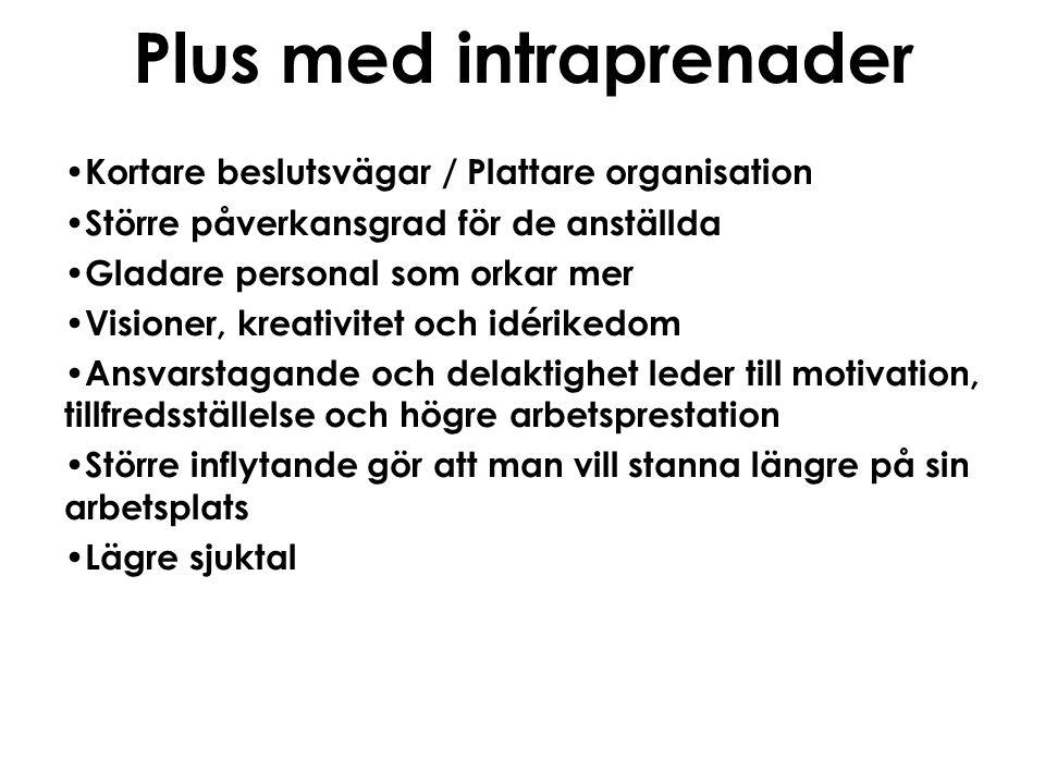 Plus med intraprenader • Kortare beslutsvägar / Plattare organisation • Större påverkansgrad för de anställda • Gladare personal som orkar mer • Visio
