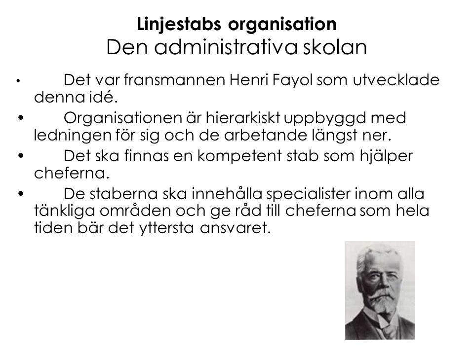 Linjestabs organisation Den administrativa skolan • Det var fransmannen Henri Fayol som utvecklade denna idé. •Organisationen är hierarkiskt uppbyggd