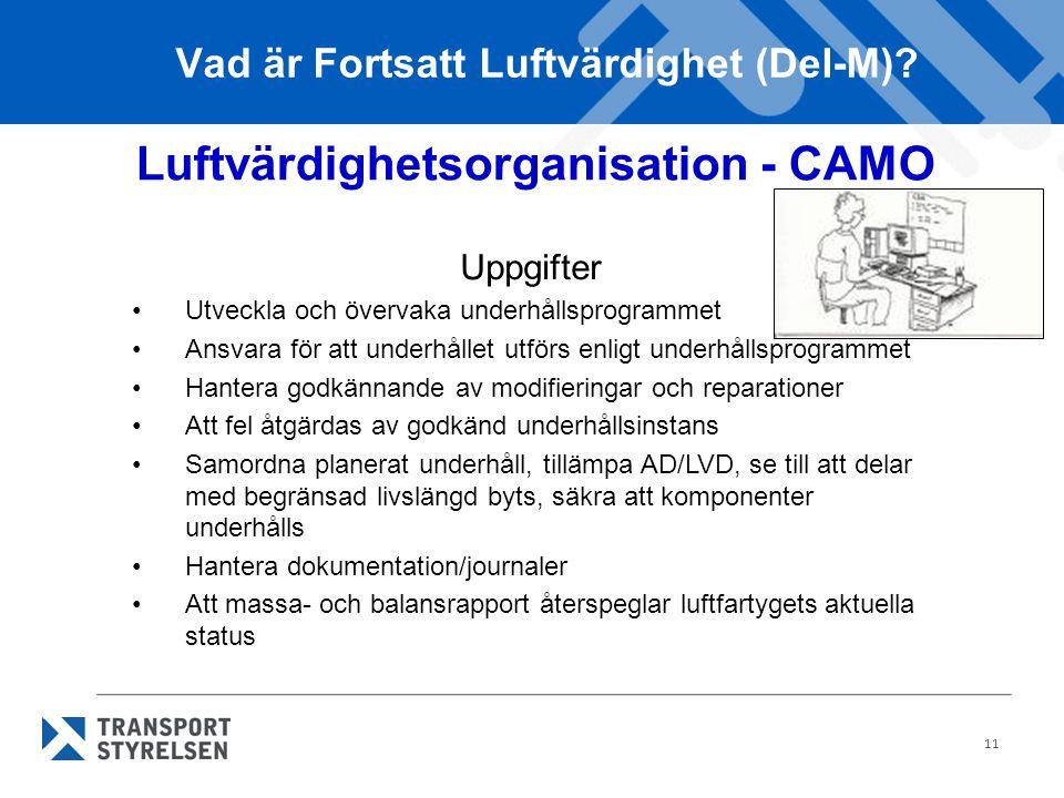 11 Vad är Fortsatt Luftvärdighet (Del-M)? Luftvärdighetsorganisation - CAMO Uppgifter •Utveckla och övervaka underhållsprogrammet •Ansvara för att und